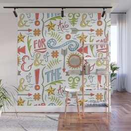 pattern of hand drawn typographic elements Wall Mural
