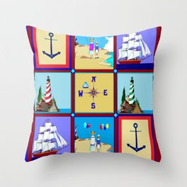 Another Nautical Quilt but with Compass Rose Throw Pillow