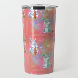 Three adorable bunnies colored Travel Mug