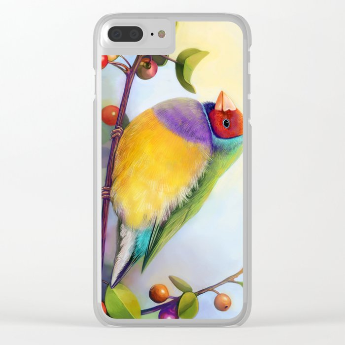 Gouldian finch realistic painting Clear iPhone Case