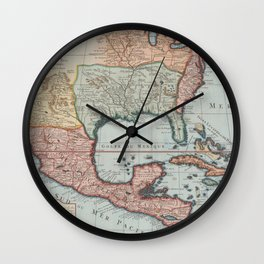 Vintage Map of The Gulf of Mexico (1732) Wall Clock