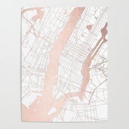 New York City White on Rosegold Street Map Poster