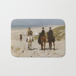 Morning Ride On The Beach - Anton Mauve Bath Mat