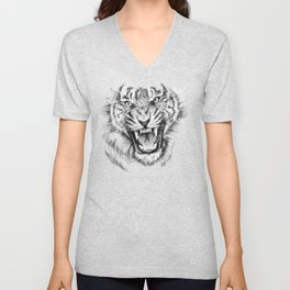 Tiger Portrait Animal Design Unisex V-Neck