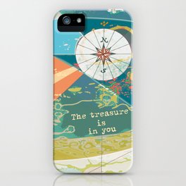 Adventure Map, The Treasure is in You iPhone Case