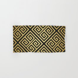 Black and gold high fashion Greek key pattern Hand & Bath Towel