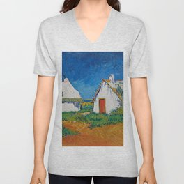 Three White Cottages In Saintes Maries By Vincent van Gogh Unisex V-Neck