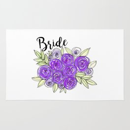Bride Wedding Bridal Purple Violet Lavender Roses Watercolor Rug