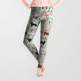 Farm animal sanctuary pig chicken cows horses sheep floral pattern gifts Leggings