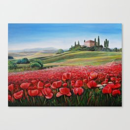 Italian Poppy Field Canvas Print