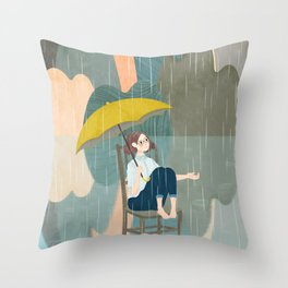 Lonely Girl In Rain Day Throw Pillow