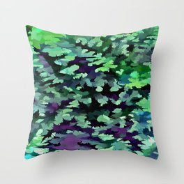 Foliage Abstract Pop Art In Jade Green and Purple Throw Pillow