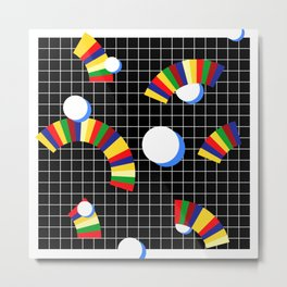 Memphis Grid & Rainbows Metal Print