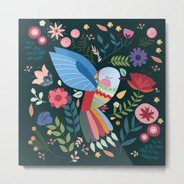 Folk Art Inspired Hummingbird With A Flurry Of Flowers Metal Print