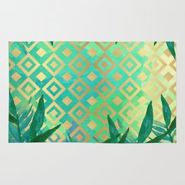 Pattern geometric gold and leaf Rug