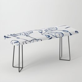 Tropical Plant Boho Chinoiserie Blue and White Bench
