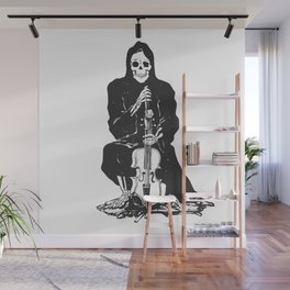 Violinist skull - grim reaper - cartoon skeleton - halloween illustration Wall Mural