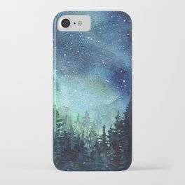 Galaxy Watercolor Aurora Borealis Painting iPhone Case