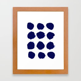 Aria - indigo brushstroke dot polka dot minimal abstract painting pattern painterly blue and white  Framed Art Print