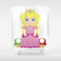 princess peach Shower Curtains featuring Princess Peach by Xiao Twins