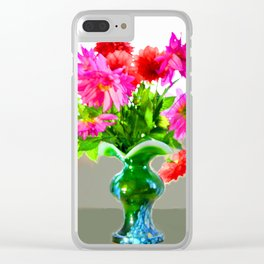 Green vase with bright colors Clear iPhone Case