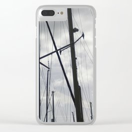 Yacht masts on cloudy sky Clear iPhone Case