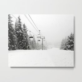 Lifts waiting for action in the snow Metal Print