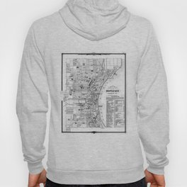 Vintage Map of Milwaukee Wisconsin (1878) BW Hoody