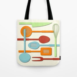 Kitchen Colored Utensil Silhouettes on Cream III Tote Bag