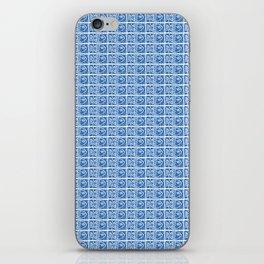 Blue Fish Block Print iPhone Skin