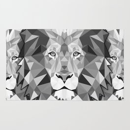 Large Silver Lion Head Rug