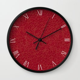 Dark red rough leather textured abstract Wall Clock