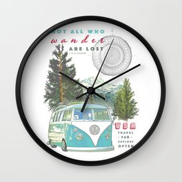"""Not all who wander, are lost"" poster print Wall Clock"