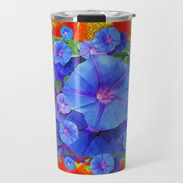 BLUE MORNING GLORIES YELLOW-ORANGE  PATTERN Travel Mug