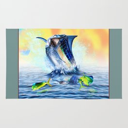 Jumpimg blue Marlin Chasing Bull Dolphins Rug