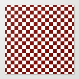 Vintage New England Shaker Barn Red and White Milk Paint Jumbo Square Checker Pattern Canvas Print
