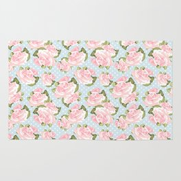 Pink Roses on Blue Polka Dots Rug