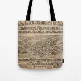 Vintage Pictorial Map of Yarmouth Nova Scotia (1889) Tote Bag