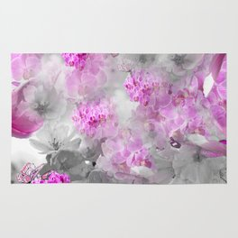 CHERRY BLOSSOMS ORCHIDS AND MAGNOLIA IMPRESSIONS IN PINK GRAY AND WHITE Rug