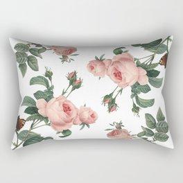 Rose Garden Butterfly Pink on White Rectangular Pillow