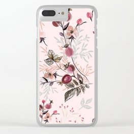 Beautiful vector pink print with wild rose berries Clear iPhone Case
