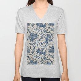 Chic Modern Vintage Ivory Navy Blue Floral Pattern Unisex V-Neck