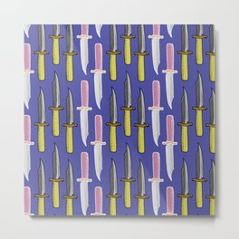 Double Knife Purple Pattern Metal Print
