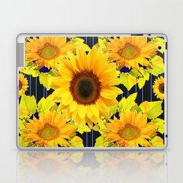 Yellow Sunflowers Pattern in Black-Blue Laptop & iPad Skin