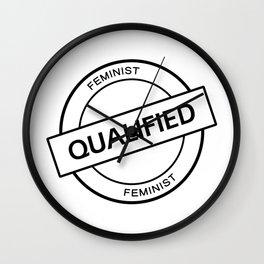 Qualified Feminist (black) Wall Clock