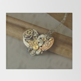 Steampunk Heart of Gold and Silver Throw Blanket