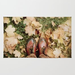 Shoes And Leaves Rug