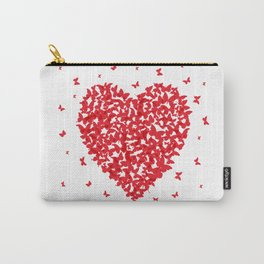Heart - summer card design, red butterfly on white background Carry-All Pouch