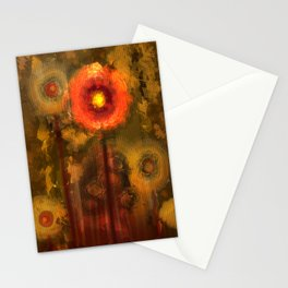 Abstract flowers in golden light Stationery Cards