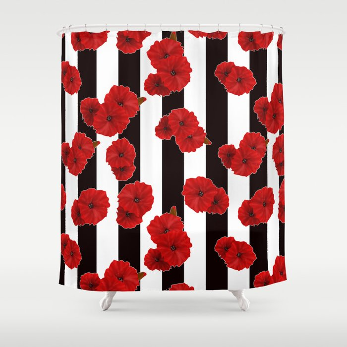 Red Poppies On A Black And White Striped Background